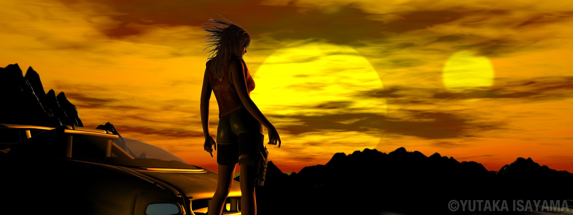 二重太陽の夕陽