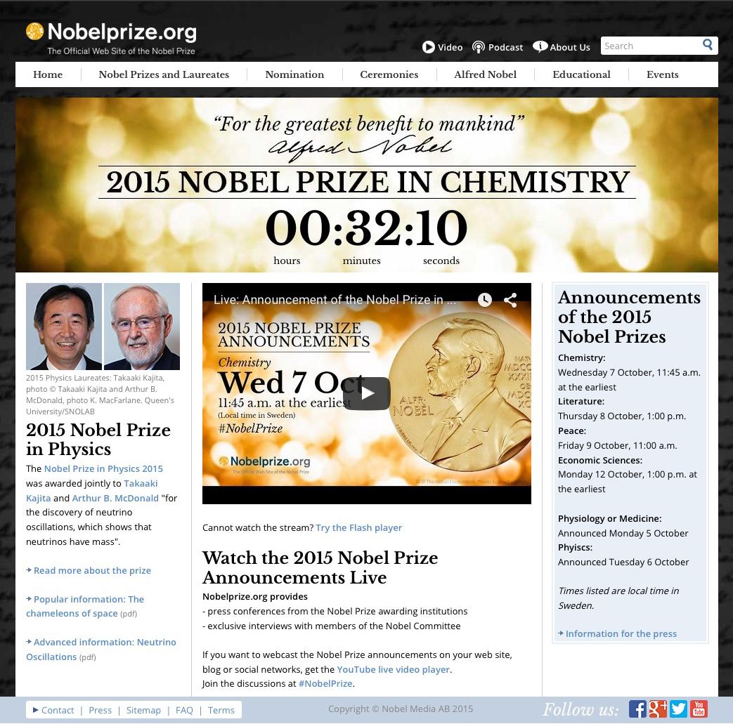 【速報】ノーベル化学賞が発表