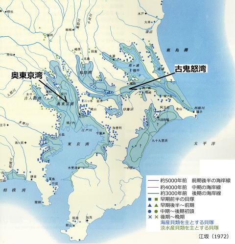 縄文時代の関東の海岸線