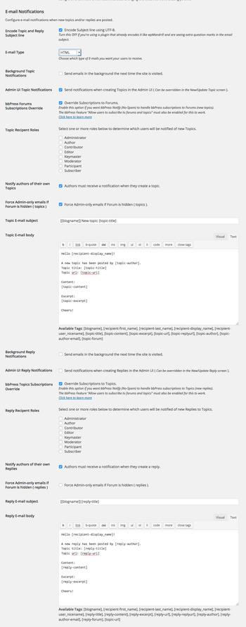bbpressのメール通知の内容をカスタマイズする方法