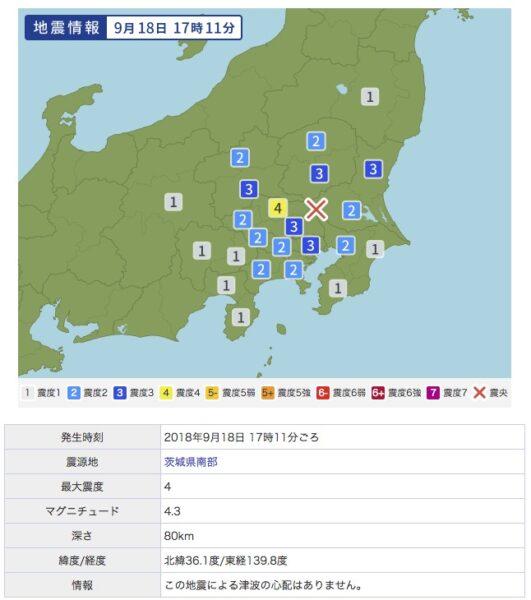関東の地震(2018年9月18日)