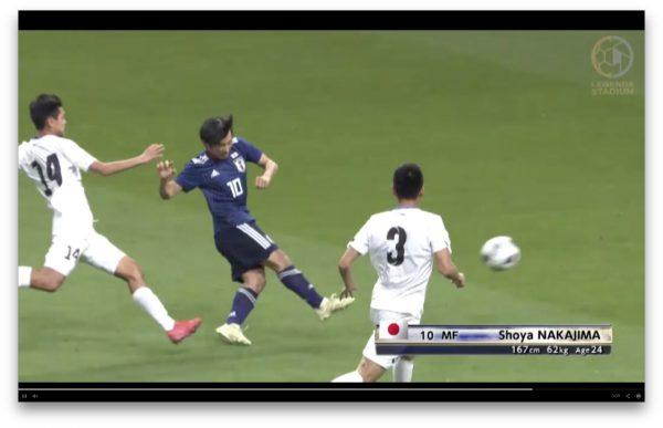 「日本vsキルギス」中島のゴールシーン