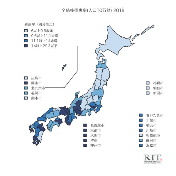 全結核罹患率地図 (2019.8更新)