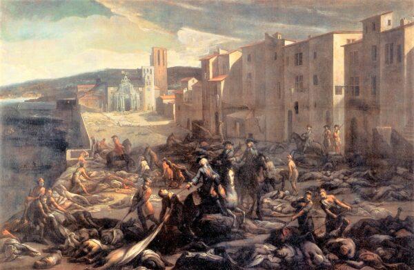 ペストによって死屍累々となった街を描いたヨーロッパの絵画(Wikipediaより)